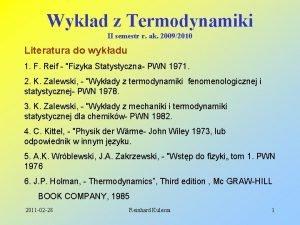 Wykad z Termodynamiki II semestr r ak 20092010