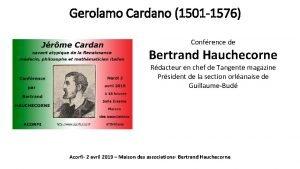 Gerolamo Cardano 1501 1576 Confrence de Bertrand Hauchecorne