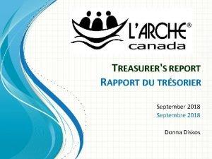 TREASURERS REPORT RAPPORT DU TRSORIER September 2018 Septembre