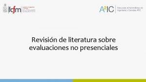 Revisin de literatura sobre evaluaciones no presenciales Selfreported