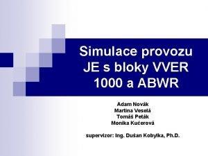 Simulace provozu JE s bloky VVER 1000 a
