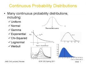 Continuous Probability Distributions Many continuous probability distributions including