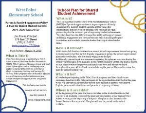 West Point Elementary School Parent Family Engagement Policy