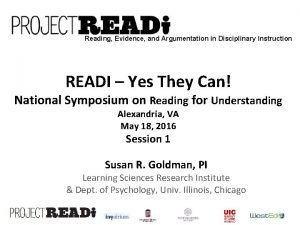 Reading Evidence and Argumentation in Disciplinary Instruction READI