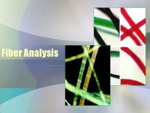 Fiber Analysis Fiber Evidence Fiber The smallest unit