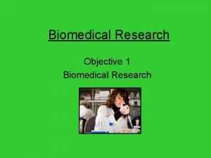 Biomedical Research Objective 1 Biomedical Research Definition of