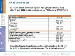 VIH et Covid19 1 93 Pv VIH dans