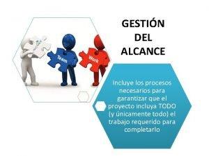 GESTIN DEL ALCANCE Incluye los procesos necesarios para