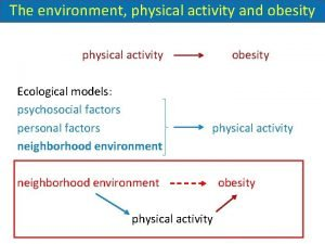 The environment physical activity and obesity physical activity