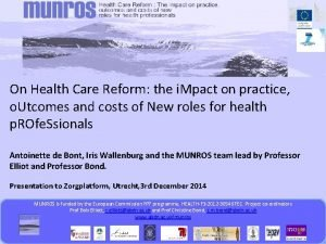 On Health Care Reform the i Mpact on