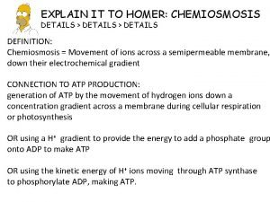 EXPLAIN IT TO HOMER CHEMIOSMOSIS DETAILS DETAILS DEFINITION