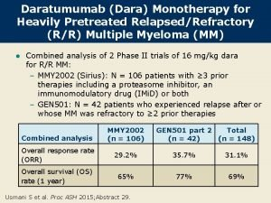 Daratumumab Dara Monotherapy for Heavily Pretreated RelapsedRefractory RR