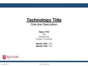 Technology Title Oneline Description Name Ph D Title