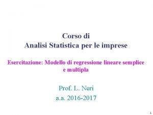 Corso di Analisi Statistica per le imprese Esercitazione