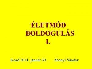 LETMD BOLDOGULS I Kosd 2011 janur 30 Abonyi