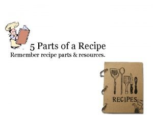 The 5 Parts of a Recipe Remember recipe