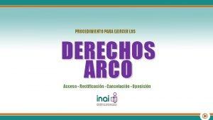PROCEDIMIENTO PARA EJERCER LOS DERECHOS ARCO Acceso Rectificacin