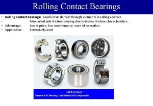 Rolling Contact Bearings Rolling contact bearings Load is