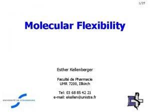 127 Molecular Flexibility Esther Kellenberger Facult de Pharmacie