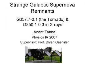 Strange Galactic Supernova Remnants G 357 7 0