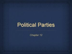 Political Parties Chapter 12 Political Parties What is