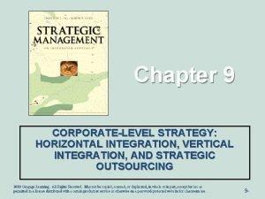 Chapter 9 CORPORATELEVEL STRATEGY HORIZONTAL INTEGRATION VERTICAL INTEGRATION