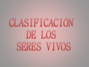 CLASIFICACIN DE LOS SERES VIVOS CLASIFICACIN DE LOS