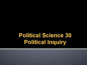 Political Science 30 Political Inquiry Measurement I Knowing