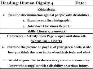 Heading Human Dignity 4 Date Objectives 1 Examine