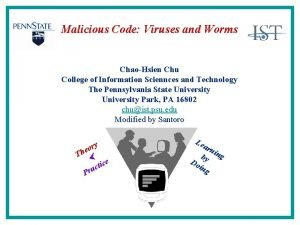 Malicious Code Viruses and Worms ChaoHsien Chu College