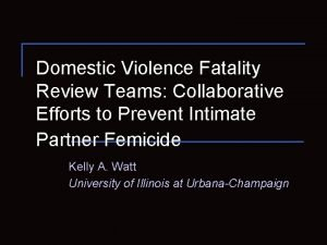Domestic Violence Fatality Review Teams Collaborative Efforts to