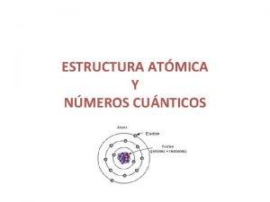 ESTRUCTURA ATMICA Y NMEROS CUNTICOS TEORA ATMICA DALTON
