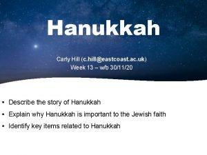 Hanukkah Carly Hill c hilleastcoast ac uk Week