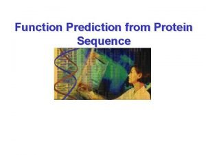 Function Prediction from Protein Sequence Basic definitions Primary