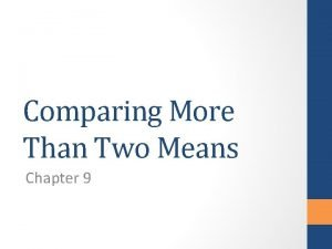 Comparing More Than Two Means Chapter 9 Review