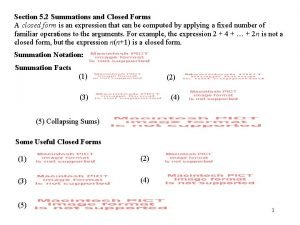 Section 5 2 Summations and Closed Forms A