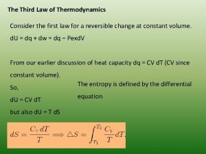 The Third Law of Thermodynamics Consider the first