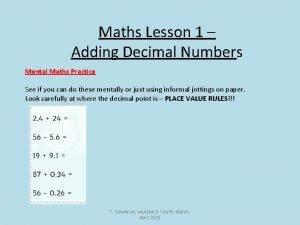 Maths Lesson 1 Adding Decimal Numbers Mental Maths