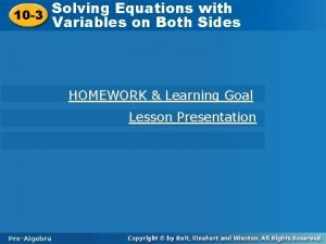 Solving Equations with Solving Equations 10 3 Variables