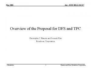May 2001 doc IEEE 802 11 01217 Overview