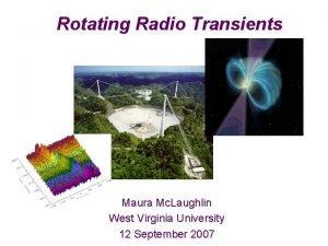 Rotating Radio Transients Maura Mc Laughlin West Virginia