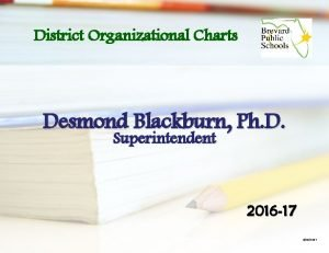District Organizational Charts Desmond Blackburn Ph D Superintendent