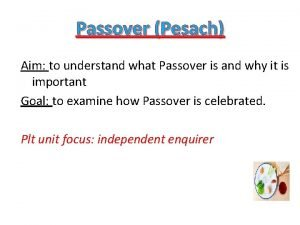 Passover Pesach Aim to understand what Passover is