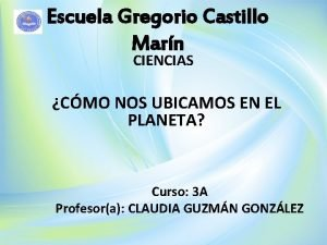 Escuela Gregorio Castillo Marn CIENCIAS CMO NOS UBICAMOS