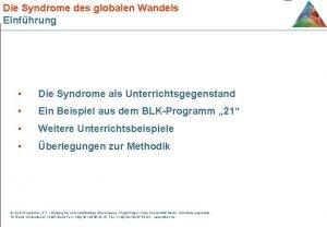 Die Syndrome des globalen Wandels Einfhrung Die Syndrome