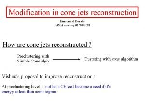 Modification in cone jets reconstruction Emmanuel Busato Jet