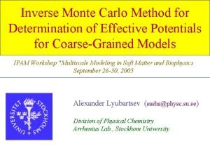 Inverse Monte Carlo Method for Determination of Effective