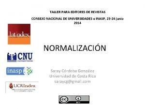 TALLER PARA EDITORES DE REVISTAS CONSEJO NACIONAL DE