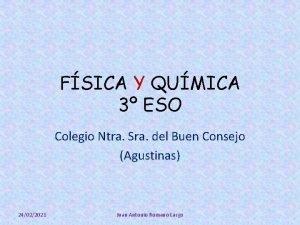 FSICA Y QUMICA 3 ESO Colegio Ntra Sra