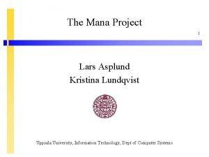 The Mana Project 1 Lars Asplund Kristina Lundqvist